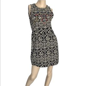ASTR- black and white embroidered mini dress